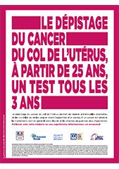 Affichette sur le dépistage du cancer du col de l'utérus - avec mention CNIL (octobre 2018)